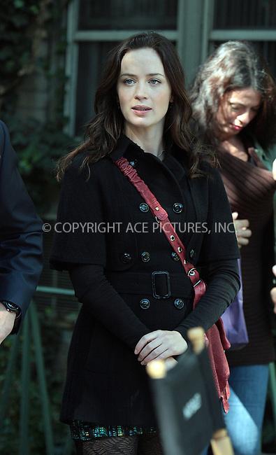 WWW.ACEPIXS.COM . . . . .  ....October 5 2009, New York City....Actor Emily Blunt on the West Village set of the new movie 'The Adjustment Bureau' on October 5 2009 in New York City....Please byline: AJ Sokalner - ACEPIXS.COM.... *** ***..Ace Pictures, Inc:  ..(212) 243-8787 or (646) 769 0430..e-mail: picturedesk@acepixs.com..web: http://www.acepixs.com