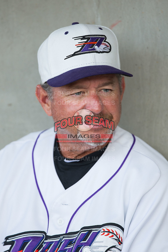 Winston-Salem Dash manager Tim Esmay (10) prior to the game against the Wilmington Blue Rocks at BB&T Ballpark on June 10, 2015 in Winston-Salem, North Carolina.  The Blue Rocks defeated the Dash 11-5.  (Brian Westerholt/Four Seam Images)