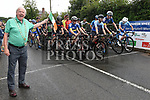 Mayor of Drogheda and Donore resident Frank Godfrey waves off the riders at the start of the main event in the Brendan Campbell Memorial Races 2018 at Donore. Photo:Colin Bell/pressphotos.ie