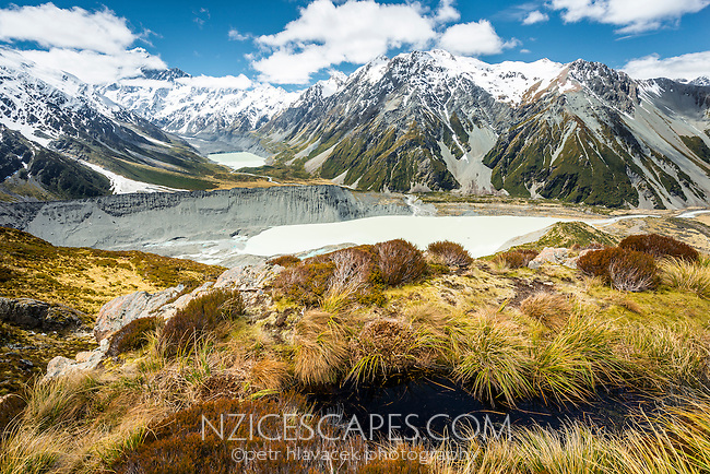 Views across Mueller Lake towards Aoraki/Mt. Cook 3754m in top left corner from Sealy Tarns, Mt. Cook National Park, World Heritage, Mackenzie Country, South Island, New Zealand