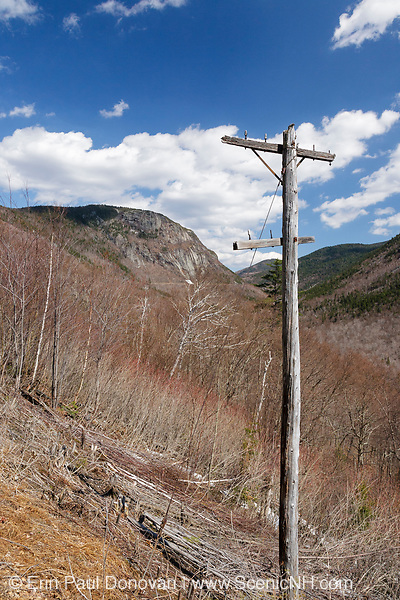 Crawford Notch State Park - Old telephone pole along the Maine Central Railroad in the White Mountains, New Hampshire USA during the winter months.