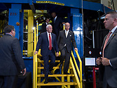 United States Vice President Mike Pence, left, and US Representative Robert Aderholt (Republican of Alabama) exit the Space Launch System (SLS) structural test stand after having been given a tour, Monday, Sept. 25, 2017 at the NASA Marshall Space Flight Center in Huntsville, Alabama. The Vice President visited the space center to view test hardware for NASA's Space Launch System, America's new deep space rocket and to call the crew onboard the International Space Station.<br /> Mandatory Credit: Bill Ingalls / NASA via CNP