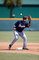 Atlanta Braves Nick King (58) during practice before a minor league Spring Training game against the Pittsburgh Pirates on March 13, 2018 at Pirate City in Bradenton, Florida.  (Mike Janes/Four Seam Images)