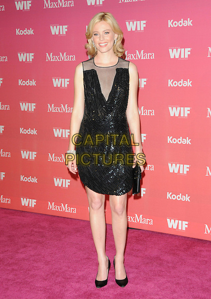 ELIZABETH BANKS .at The Women in Film 2009 Crystal .and Lucy Awards held at The Hyatt Regency Century Plaza in Century City, California, USA, June 12th 2009                                                                     .full length sleeveless shoes clutch bag black mesh beaded sequined .CAP/DVS.©Debbie VanStory/RockinExposures/Capital Pictures