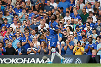 GOAL - Tammy Abraham of Chelsea gives thanks after scoring during the Premier League match between Chelsea and Sheff United at Stamford Bridge, London, England on 31 August 2019. Photo by Carlton Myrie / PRiME Media Images.