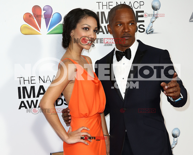 LOS ANGELES, CA - FEBRUARY 1: - Los Angeles, California - Jamie Foxx, Corinne Foxx at 2013 NAACP Image Awards held at The Shrine Auditorium. February 1, 2013. Credit: MediaPunch Inc.