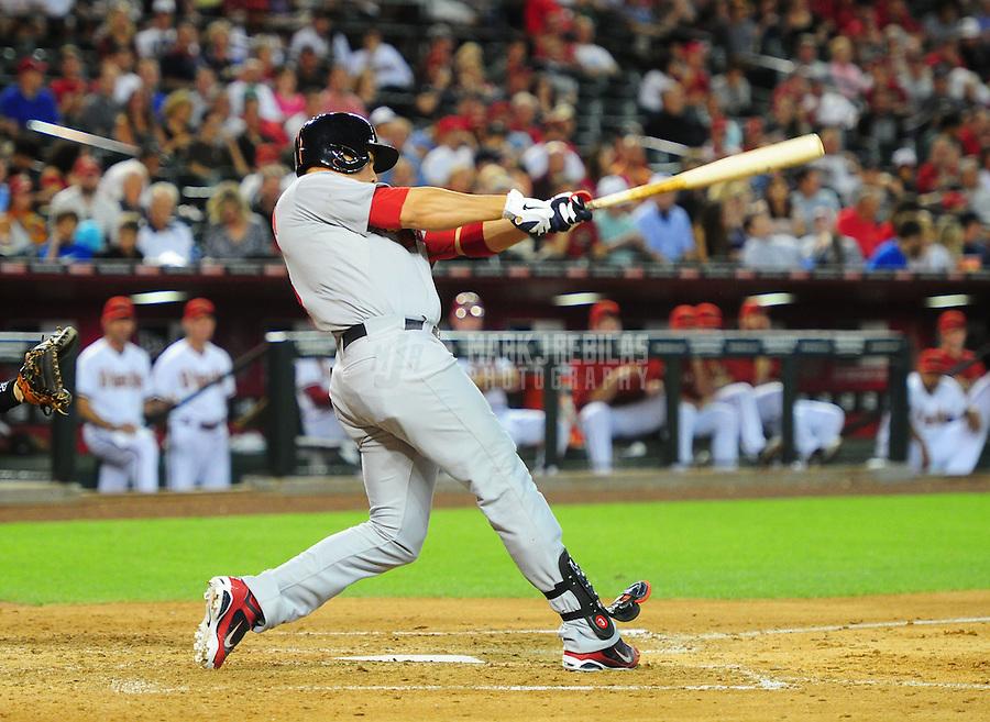 May 8, 2012; Phoenix, AZ, USA; St. Louis Cardinals outfielder Carlos Beltran bats against the Arizona Diamondbacks at Chase Field. Mandatory Credit: Mark J. Rebilas-