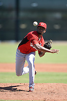 Cincinnati Reds pitcher Jose Guzman (45) during an instructional league game against the Cleveland Indians on September 28, 2013 at Goodyear Training Complex in Goodyear, Arizona.  (Mike Janes/Four Seam Images)