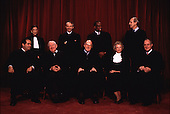 Washington, DC - File photo from November 10, 1994 -- Latest group photo of the Justices of the United States Supreme Court. (L-R) Associate Justice Antonin Scalia; Associate Justice Ruth Bader Ginsburg; Associate Justice John Paul Stevens; Associate Justice David Hackett Souter; Chief Justice William H. Rehnquist; Associate Justice Clarence Thomas; Associate Justice Sandra Day O'Connor; Associate Justice Stephen  G. Breyer; Associate Justice Anthony M. Kennedy..Credit: Corbis Sygma