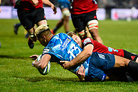 11th July 2020, Christchurch, New Zealand;  Rieko Ioane of the Blues scores a try in the tackle of Braydon Ennor of the Crusaders  during the Super Rugby Aotearoa, Crusaders versus Blues, at Orangetheory Stadium, Christchurch
