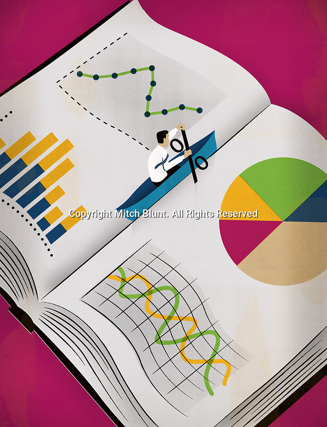 Man in boat with percent paddle escaping from book with graphs ExclusiveImage