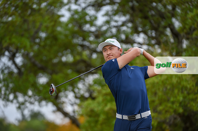 HaoTong Li (CHN) watches his tee shot on 2 during day 1 of the Valero Texas Open, at the TPC San Antonio Oaks Course, San Antonio, Texas, USA. 4/4/2019.<br /> Picture: Golffile   Ken Murray<br /> <br /> <br /> All photo usage must carry mandatory copyright credit (© Golffile   Ken Murray)