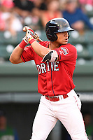Left fielder Tyler Hill (7) of the Greenville Drive bats in a game against the Lexington Legends on Friday, June 30, 2017, at Fluor Field at the West End in Greenville, South Carolina. Lexington won, 17-7. (Tom Priddy/Four Seam Images)