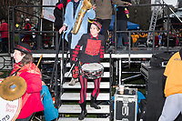 The Boston Area Brigade of Activist Musicians (BABAM Band) leaves the stage after performing on stage in Boston Common as part of the March for Science demonstration on Sat., April 22, 2017.