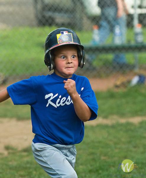 Original Little League t-ball. Child running to base