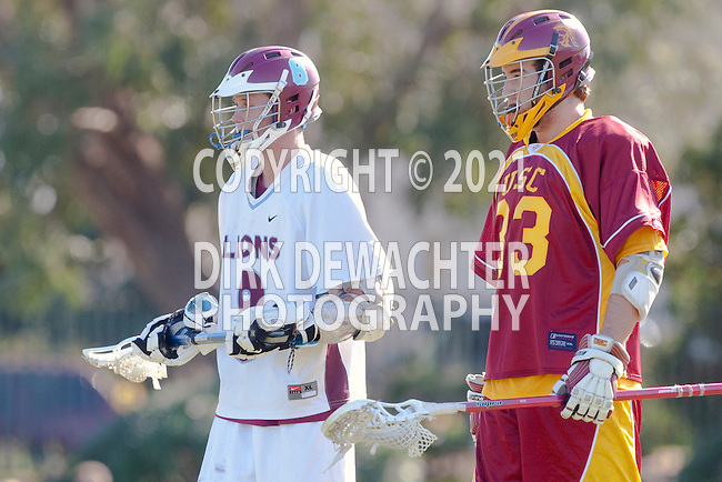 Los Angeles, CA 02/20/10 - \L8\ and Jacob Pontes (USC # 33) in action during the USC-Loyola Marymount University MCLA/SLC divisional game at Leavey Field (LMU).  LMU defeated USC 10-7.