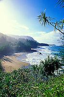 Idyllic and secluded Lumahai beach on Kauai's north shore.