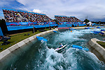LONDON, ENGLAND - JULY 29:  Aleksander Lipatov of Russia competes in the Men's Kayak Slalom Prelims during Day 3 of the London 2012 Olympic Games on July 29, 2012 at the Lee Valley White Water Center Center in Hertfordshire, England. (Photo by Donald Miralle)