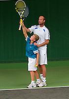 17-09-10, Tennis, Amsterdam, Martin Verkerk traint met Nationaal Kampioen tot 12 jaar, Bart Stevens