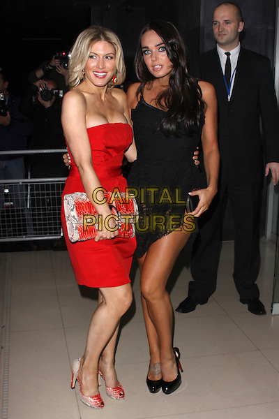 HOFIT GOLAN & TAMARA ECCLESTONE.'An Evening At Sanderson' at The Sanderson Hotel, London, England..April 27th 2010.full length black crochet dress red strapless clutch bag platform patent shoes slingback peep toe cleavage .CAP/AH.©Adam Houghton/Capital Pictures.