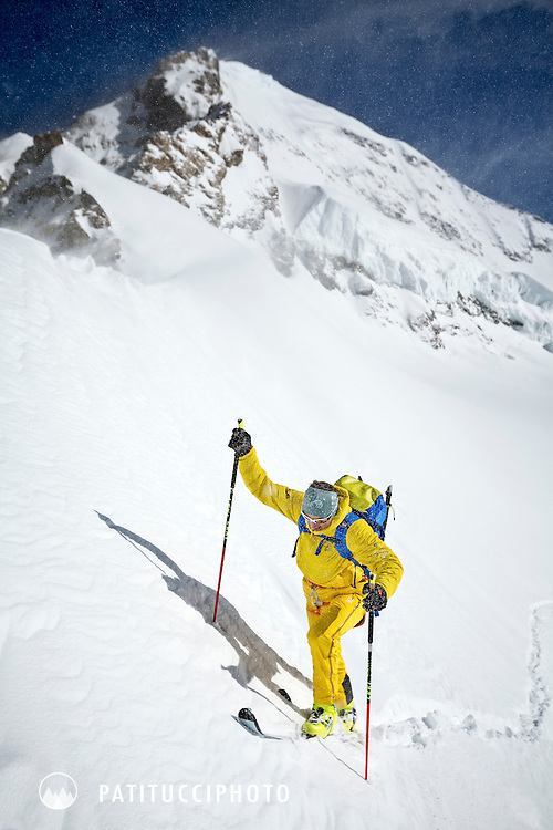 Ueli Steck skiing to the base of the Mönch from the Jungfraujoch, Switzerland.