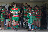 Joseph Gregory leads the Waiuku team out of their changing room for the Counties Manukau Premier Club Rugby game between Onewhero and Waiuku, played at Onewhero on Saturday May 26th 2018. Onewhero won the game 24 - 20 after leading 17 - 12 at halftime. <br /> Onewhero Silver Fern Marquees 24 -Vaughan Holdt, Filipe Pau, Sean Bagshaw tries, Rhain Strang 3 conversions, Rhain Strang penalty.<br /> Waiuku Brian James Contracting 20 - Christian Walker, Fuifatu Asomua, Aaron Yuill tries, Christian Walker conversion, Christian Walker penalty .<br /> Photo by Richard Spranger.