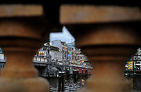Amsterdam Holland Netherlands bridge water reflection europe city urban canal boathouse