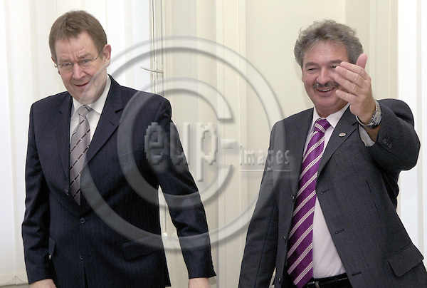 Brussels-Belgium - 08 March 2007---Meeting of PES (Party of the European Socialists) Prime Ministers, Deputy Prime Ministers and Finance or Foreign Affairs Ministers, at the FES-EU Office, prior to the European Union's Spring Summit; here, from left to right: Poul Nyrup RASMUSSEN, PES-President; Jean ASSELBORN, Deputy Prime Minister and Minister for Foreign Affairs of Luxembourg---Photo: Horst Wagner/eup-images