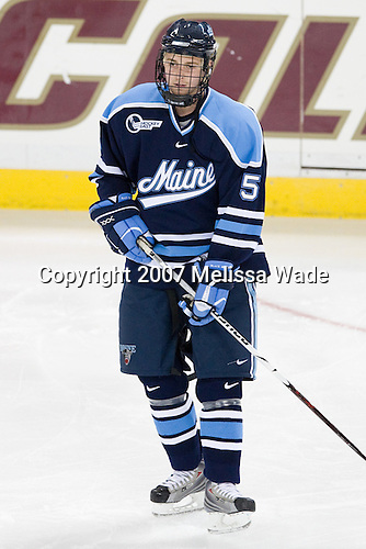 Josh Van Dyk (Maine 5) - The Boston College Eagles and University of Maine Black Bears played to a 1-1 tie on Friday, November 2, 2007, at Kelley Rink at Conte Forum in Chestnut Hill, Massachusetts.
