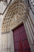 Central portal, Church of Notre Dame, 12th - 14th century, Mantes-la-Jolie, Yvelines, France Picture by Manuel Cohen
