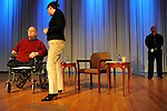 Former Georgia Senator and Vietnam Veteran Max Cleland is seen on stage before being interviewed by Daniel Zwerdling of NPR for an event co-sponsored by the Dart Center for Journalism and Trauma at The Carter Center in Atlanta, Georgia on January 8, 2010.