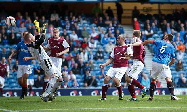Lee McCulloch heads his third goal past Arbroath keeper Scott Morrison