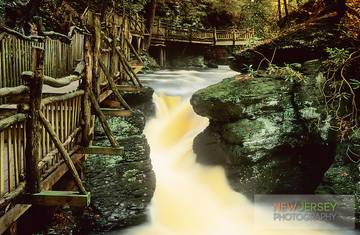 Wooden Bridge and Stream, Bushkill Falls, Delaware Water Gap, Pennsylvania