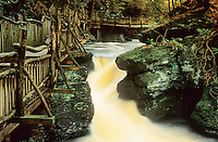 Wooden Bridge and Stream, Bushkill Falls, Delaware Water Gap, Pennsylvania