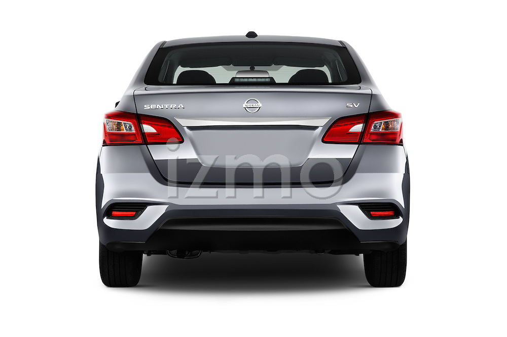 Straight rear view of 2017 Nissan Sentra SV 4 Door Sedan Rear View  stock images