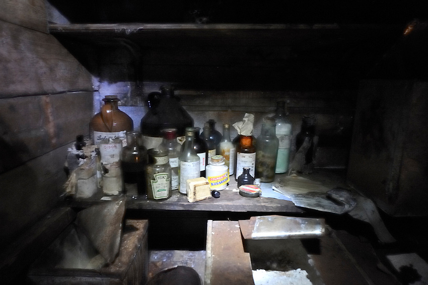 The condiment and medicine shelf in Mawson's Hut, Commonwealth Bay, Cape Dennison, Boat Harbor, Adele Land, Antarctic