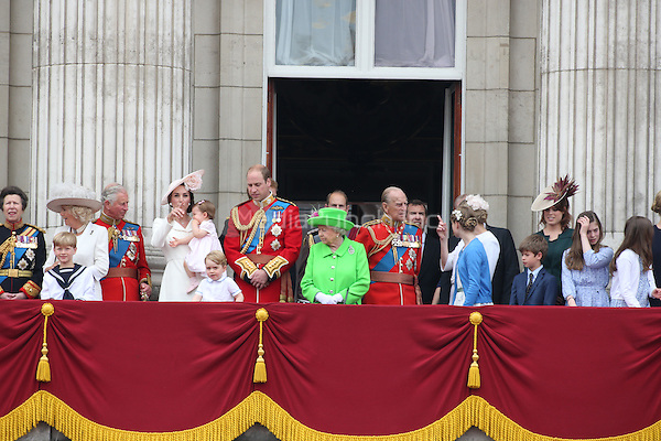 The Royal Family on the balcony of Buckingham Palace  for the Queen's official birthday when she reviewed the Trooping of the Colour, London, England June 11, 2016.<br /> CAP/GOL<br /> &copy;GOL/Capital Pictures /MediaPunch ***NORTH AND SOUTH AMERICA ONLY***