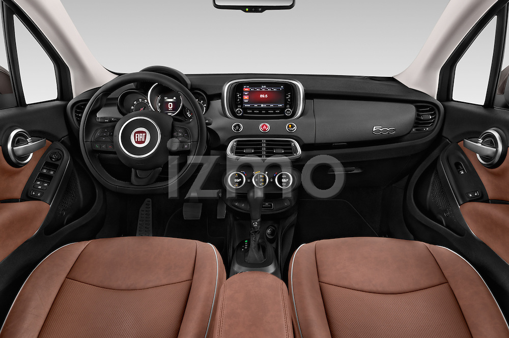 Stock photo of straight dashboard view of 2017 Fiat 500X Trekking 5 Door SUV Dashboard