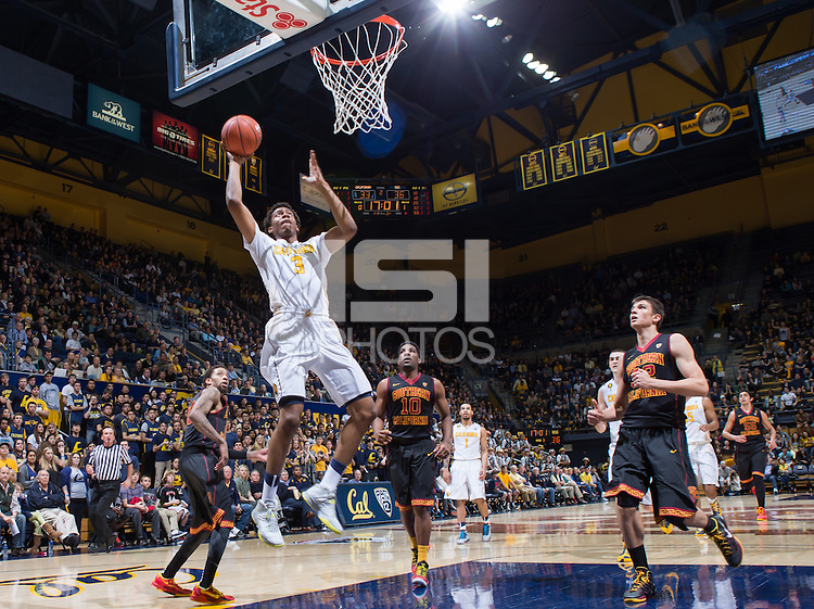 California Tyrone Wallace shoots for the basket during game against USC at Haas Pavilion in Berkeley, California on February 23th, 2014. California defeated USC 77 - 64