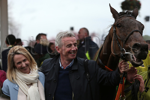 09.04.2016. Aintree, Liverpool, England. Crabbies Grand National Festival Day 3. Winning owner Michael O''Leary and his wife Anita with Rule the World after he won the main race Grand National