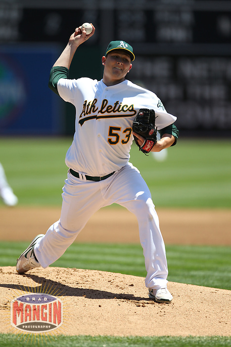 OAKLAND, CA - JUNE 10:  Trevor Cahill #53 of the Oakland Athletics pitches against the Los Angeles Angels of Anaheim during the game at the Oakland-Alameda County Coliseum on June 10, 2010 in Oakland, California. Photo by Brad Mangin