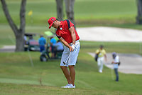 Zheng Kai BAI (CHN) chips on to 11 during Rd 4 of the Asia-Pacific Amateur Championship, Sentosa Golf Club, Singapore. 10/7/2018.<br /> Picture: Golffile | Ken Murray<br /> <br /> <br /> All photo usage must carry mandatory copyright credit (&copy; Golffile | Ken Murray)