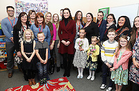 22 February 2017 - Princess Kate Duchess of Cambridge with 7 year old Alife Thomas and 9 year old Emily Davis during a visit to Caerphilly Family Intervention Team (FIT) to learn about their work with children with emotional and behavioural difficulties, problems with family relationships and those who have or who are likely to self-harm in Caerphilly. Photo Credit: ALPR/AdMedia