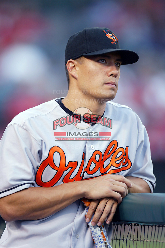 Jeremy Guthrie of the Baltimore Orioles during a game from the 2007 season at Angel Stadium in Anaheim, California. (Larry Goren/Four Seam Images)