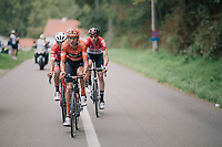 eventual winner Taco van der Hoorn (NED/Roompot-Nederlandse Loterij) leading the breakaway<br /> <br /> 8th Primus Classic 2018 (1.HC)<br /> 1 Day Race: Brakel to Haacht (193km / BEL)