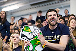 UNIVERSITY PARK, PA - MARCH 25: Notre Dame fans cheer on Axel Kiefer of Notre Dame University in the consolation match in the foil competition during the Division I Men's Fencing Championship held at the Multi-Sport Facility on the Penn State University campus on March 25, 2018 in University Park, Pennsylvania. (Photo by Doug Stroud/NCAA Photos via Getty Images)