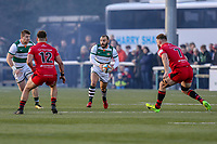 Jordan BURNS of Ealing Trailfinders Match action during the Greene King IPA Championship match between Ealing Trailfinders and Jersey Reds at Castle Bar , West Ealing , England  on 22 December 2018. Photo by David Horn.