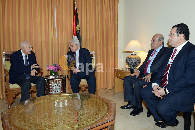 Palestinian President Mahmoud Abbas (Abu Mazen) meets with secretary general of the Arab League Nabil Elaraby in the Dead Sea in Jordan on May 25, 2012. Photo by Thaer Ganaim