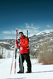 USA, Utah, Midway, Soldier Hollow, portrait of Henry Druce learning how to Nordic Ski and Biathlon