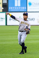 Burlington Bees third baseman Gleyvin Pineda (9) warms up in the outfield prior to a Midwest League game against the Wisconsin Timber Rattlers on May 19, 2018 at Fox Cities Stadium in Appleton, Wisconsin. Wisconsin defeated Burlington 1-0. (Brad Krause/Four Seam Images)